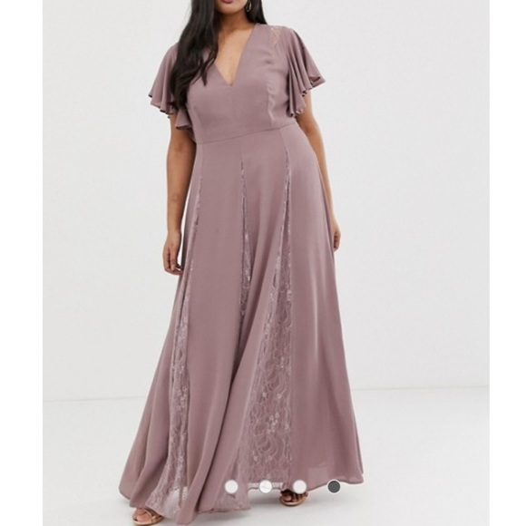 ASOS Dresses & Skirts - ASOS curve mauve lace maxi dress NWT
